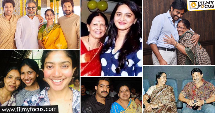 Tollywood Stars with their mother